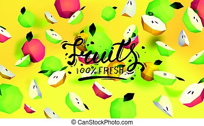 Creative background with low poly fruit. Illustration with polygonal apple.