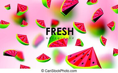 Creative background with low poly fruit. Illustration with polygonal watermelon.