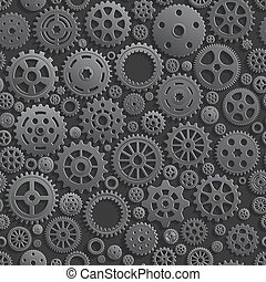 Creative Black Gears 3d Seamless Pattern Background.