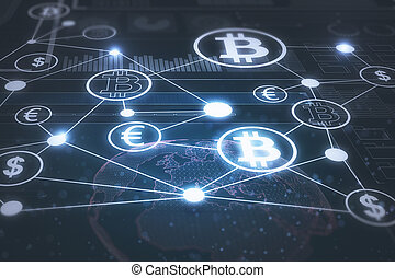 Creative glowing blockchain backdrop. Cryptocurrency, payment, finance and online banking concept. 3D Rendering