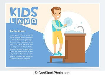 Creative blue card with place for text and cute boy character washing the dishes in tap. Kid doing a home cleanup. Colorful flat style vector illustration.