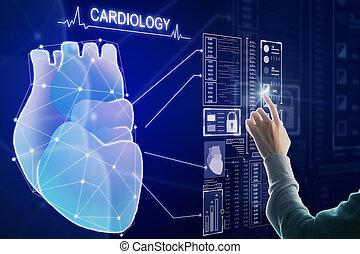 Creative blue heart interface wallpaper