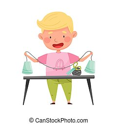 Creative Boy at Desk Crafting from Used Paper Cup Vector Illustration. Inventive Kid Engaged in Upcycling Reusing Recyclable Material Concept