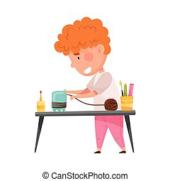 Creative Boy at Desk Crafting from Used Plastic Bottle Vector Illustration. Inventive Kid Engaged in Upcycling Reusing Recyclable Material Concept