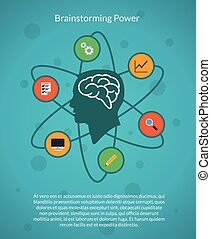 Creative brain idea and brainstorming poster template