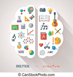 Vector concept. Textured background. Sciences and arts. Back to school icons. Left and right brain functions.
