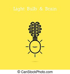 Creative brain logo and light bulb icon idea concept background.Business idea and Education concept.