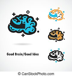 Creative brain logo design vector icon with best hand sign.Best idea,good brain,good idea sign.Education and business logotype concept.