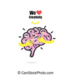 Creative brain logo design vector template with small hand.Education and business logotype concept.Vector illustration