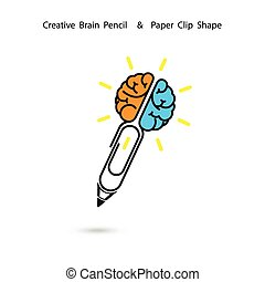 Creative brain pencil logo design,Paper clip sign.Concept of ideas inspiration.Business and Education concept.