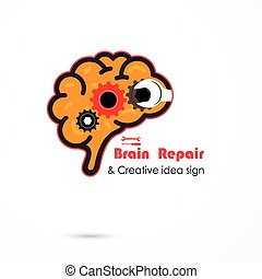 Creative brain repair abstract vector logo design template. Generate idea. Brainstorming logotype concept icon. Education,technology,science,industrial and business creative logotype idea concept.