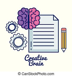 creative brain set icons