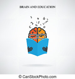 creative brain sign and book symbol on background, design ...