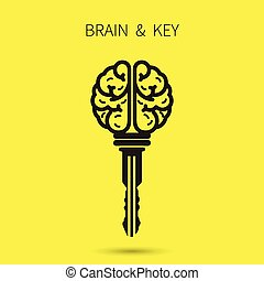 Creative brain sign with key symbol. Key of success. Business and education idea concept. Vector illustration.