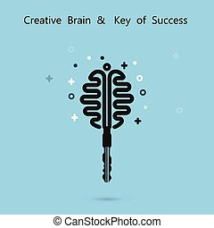 Creative brain sign with key symbol. Key of success concept.