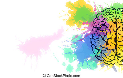 Creative colorful splatter brain sketch on subtle background. Brainstorm and art concet. 3D Rendering