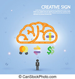 creative brain symbol, creativity sign, business symbol, ...
