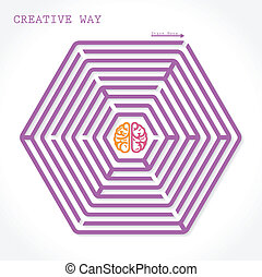 Creative brain symbol  in the middle of hexagonal maze