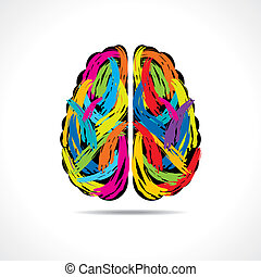 Creative brain with paint strokes stock vector