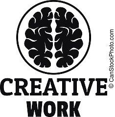 Creative brain work logo, simple style