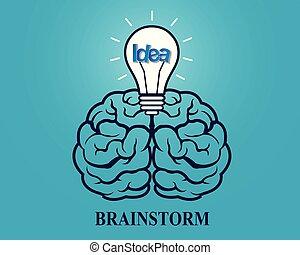 Creative brainstorm idea. brain and lightbulb icon. concept business. spark success inspiration. vector illustration