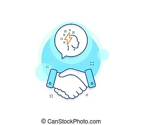 Creative brainstorming line icon. Human head with lightning bolt sign. Vector