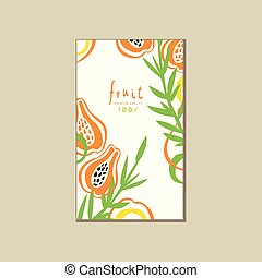 Creative bright card with fresh halves of papaya pawpaw . Fresh tropical fruit. Healthy vegetarian nutrition. Abstract vector design