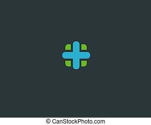 Creative bright green and blue logo icon cross medicine pharmacy pharmacology