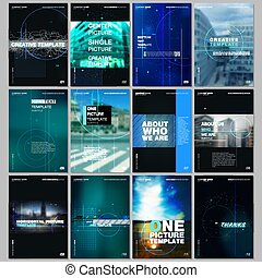 Creative brochure templates with lines, dots and circles. Covers design templates for electronic music festival flyer, leaflet, brochure, report, presentation, advertising. Electro music party concept