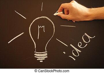 creative bulb idea - bulb on chalkboard showing idea...