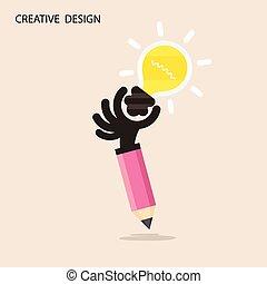 Creative bulb light idea and pencil hand icon,flat design.Concept of ideas inspiration