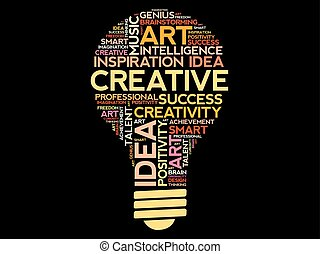 Creative bulb word cloud collage concept background