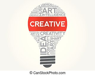 Creative bulb word cloud collage, concept background