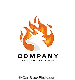 bull head fire logo vector