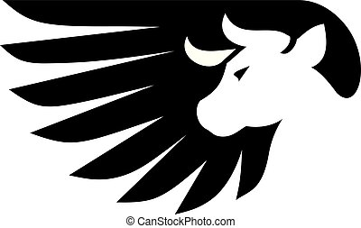 creative bull with wing logo vector
