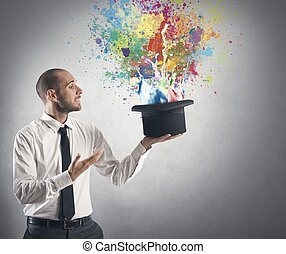 Creative business - Businessman and creative idea concept ...