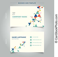 Creative business card and name card template modern colorful triangles pattern elements on white background.