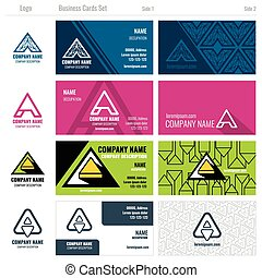 Creative business cards vector set with A logo