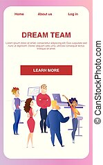 Creative Business Group Teamwork in Office Banner
