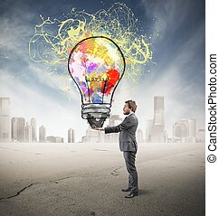 Creative business idea - Businessman with creative business ...