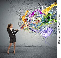 Businesswoman works on a creative business idea