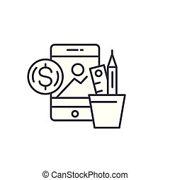 Creative business linear icon concept. Creative business line vector sign, symbol, illustration.