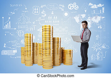 creative business man and gold coin