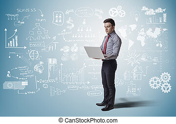 creative business man standing agai