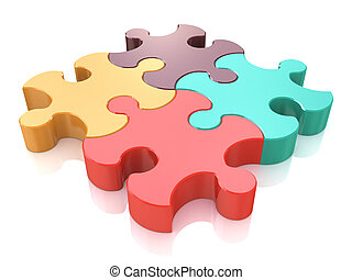 Creative business, office, teamwork, partnership and communication corporate concept: logo from four color red, brown, green and yellow puzzle jigsaw pieces isolated on white background