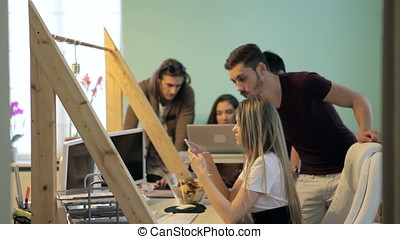 Creative business people working in office