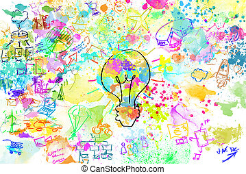 Creative business project with bright colors lightbulb and business sketches
