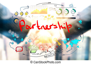 Partnership concept - Creative business sketch with blurry...