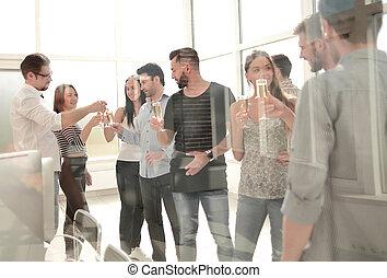 creative business team celebrates successful presentation