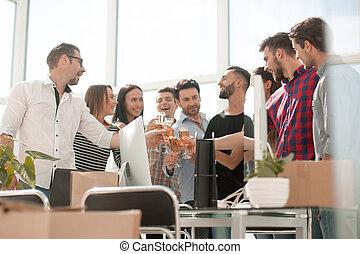 creative business team celebrates their startup